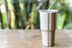 Free Stainless Steel Tumbler With Stainless Straw Keeping Of The Drink Cold Or Hot Royalty Free Stock Photos - 141007168