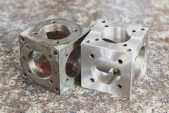 Stainless steel turning parts Stock Photos
