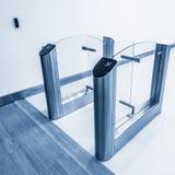 Stainless steel turnstiles. Stock Photo