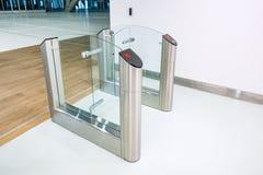 Stainless steel turnstiles. Royalty Free Stock Photos