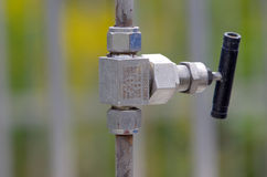 Stainless steel valves Royalty Free Stock Photography