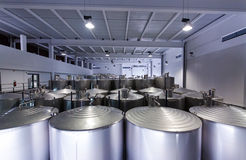 Stainless Steel Vats for Fermentation Wine Royalty Free Stock Photography