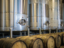 Stainless steel vats at 2 Towns Cidertown in a warehouse in Corvallis, Ore Stock Photography