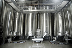 Stainless steel vats for wine Royalty Free Stock Photo