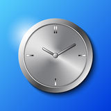 Stainless Steel Wall Clock. On Blue Background Vector Illustration Royalty Free Stock Image