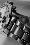 Stainless steel watch closeup Stock Image