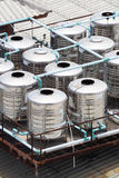 Stainless steel water tanks on rooftop Royalty Free Stock Photos