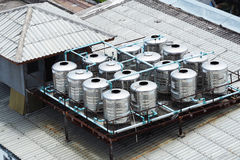 Stainless steel water tanks on rooftop Stock Photography