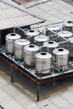 Stainless steel water tanks on rooftop Stock Image