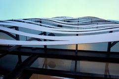 Stainless steel waves. Suites Avenue, inaugurated in spring of 2009, is a new option for accommodations in Barcelona, directly opposite Gaudí`s La Pedrera stock image