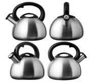 stainless steel whistling tea kettle stock photo