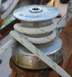 Stainless steel winch and sheet Royalty Free Stock Photo