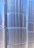 Stainless steel wine fermentation vats in a winery Royalty Free Stock Photo