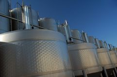 Stainless steel wine tanks Stock Photos