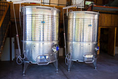 Stainless Steel Wine Tanks royalty free stock photos