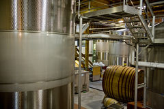 Stainless steel wine vats Stock Photo