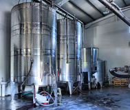 Stainless steel wine vats Stock Photos