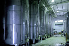 Stainless steel wine vats in a row Stock Images