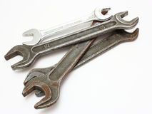 Stainless Steel Wrench close up. The steel wrench lies on a white background Stock Image