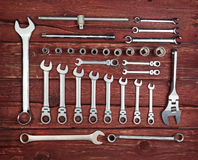 Stainless steel wrench set Stock Photography