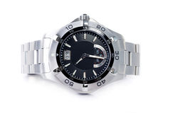 Stainless steel wristwatch Stock Photo