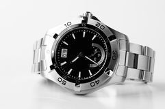 Stainless steel wristwatch Stock Photos