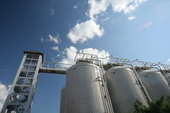 Stainless storages. Stainless storage tanks in chemical industry Stock Images