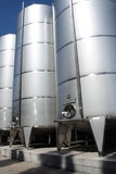 Stainless tanks. In wine factory stock photography