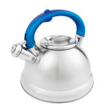 Stainless tea kettle with whistle Royalty Free Stock Photos