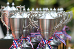 Stainless trophy. For the winner royalty free stock photo