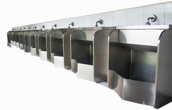 Stainless urinals Royalty Free Stock Images