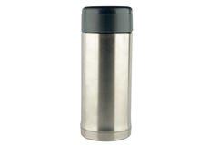 Stainless vacuum bottle on white background Stock Image