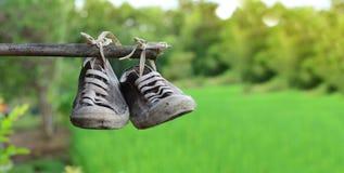 stainly los zapatos viejos cuelgan en la barra de bambú con backgro verde del campo Fotografía de archivo