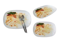 Stains on dishes after the meal is finished. isolated on white background with clipping path stock photo