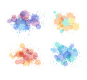 Stains and droplets vector collection. Expressive watercolor splash. Light holographic colors Stock Photo
