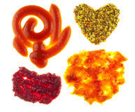 Stains from sauces and mustard macro. Stock Image