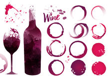 Stains set for your designs. Color texture red wine or rose wine. Vector Stock Photography