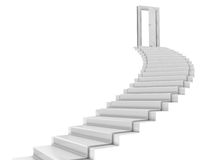 Stair. White stair leading to the open door. Picture without textures royalty free illustration
