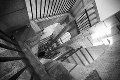 Stair. A black and white stair with shadows and light Royalty Free Stock Photo