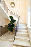 Stair. Marble stair with metallic rails Royalty Free Stock Photo