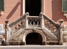 Stair. Old double stair made of marble with original decoration in Fiuggi, Italy Stock Images