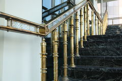 Stair. Golden Luxury staircase in hotel Royalty Free Stock Photography