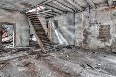 Stair in abandoned and crumbling building Royalty Free Stock Photography