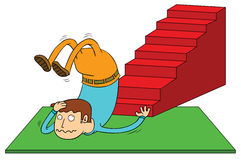 Stair accident. Illustration of a man in stair accident royalty free illustration
