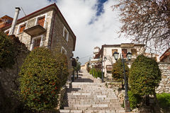 Stair Alley In Arachova, Greece. Stone steps ascending in an alley of the Greek mountain resort town of Arachova Stock Images