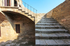 Stair of ancient building. Ruins of ancient stone building Rhodes island Greece stock images