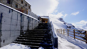 Stair of Building at Gornergrat station. Matterhorn, Zermatt, Switzerland stock photo