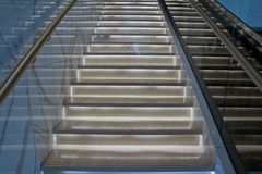 Bright stairs in the hotel. Stair case in the modern hotel interior Royalty Free Stock Photos