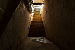 Stair in the cellar, an old industrial building Stock Image