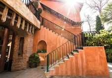 Stair on the classic orange building Royalty Free Stock Photos